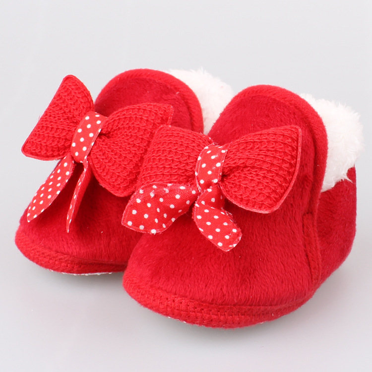 Winter Warm Baby Bowknot Soft Crib Shoes Cotton Shoes Boots Thickened Warm Soft Sole First Walking 0-18M Infant Toddler Shoes | Happy Baby Mama