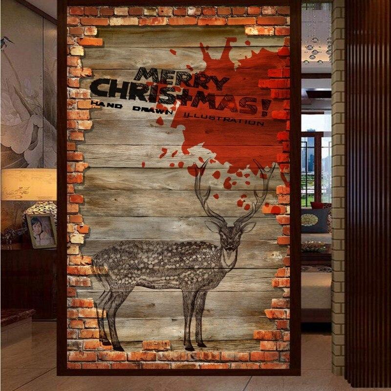 Drop Shipping 3D Custom Photo Wallpaper Nostalgia Brick Wall Sika Deer Tooling Entrance Living Room Wallpaper Lobby Mural