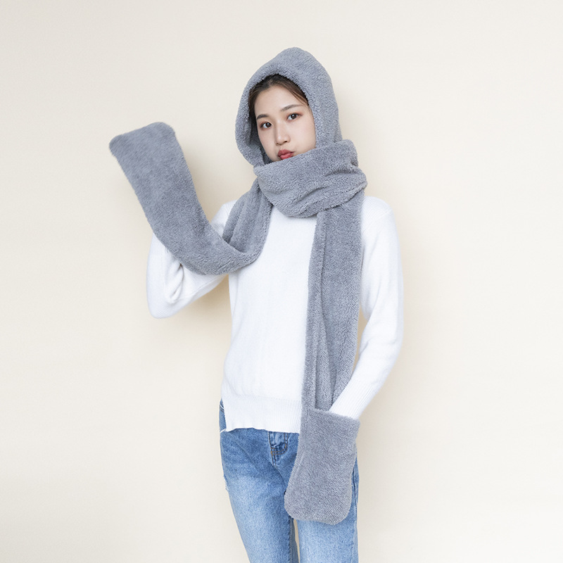 2019 Winter Cute Woman Plush Hooded Scarf Autumn Solid Color Warm Thicken Couple Scarf Siamese Bib Hat Gloves Three-piece Scarf