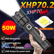 2020 NEW XHP70.2 Ultra Powerful 18650 LED Flashlight XLamp USB Rechargeable Output XHP70 Tactical Light 26650 Zoom Camp Torch