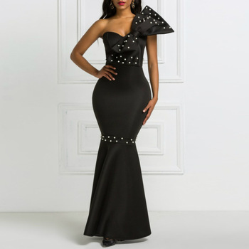Black Long Big Bowtie Beading Maxi Dress 2