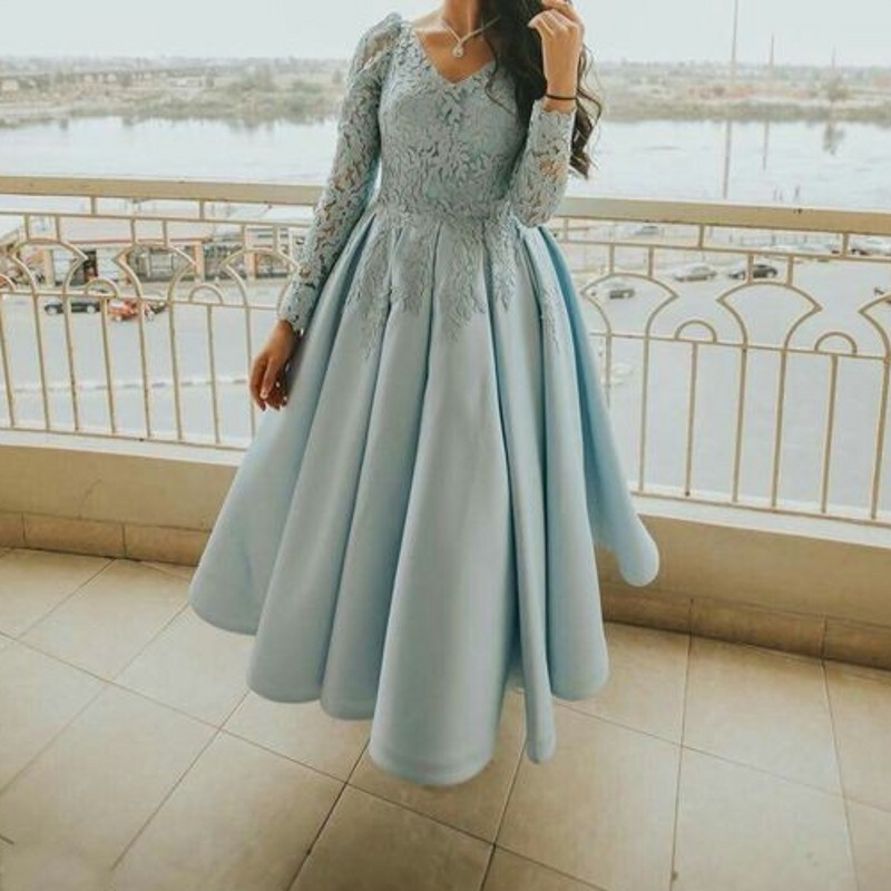 Sexy Party Gala Dress Plus Size African Long Sleeve Short Prom Evening Dresses Gown 2019