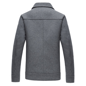 Image 4 - 2019 Herfst Nieuwe Mannen Wol Jas Business Mode Effen Kleur Dubbele Pocket Tooling Jas Mannelijke Merk Kleding Grijs Kaki zwart