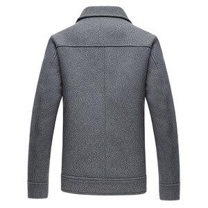 Image 4 - 2019 秋の新メンズウールジャケットビジネスファッションソリッドカラーのダブルポケットツーリングコート男性ブランド服グレーカーキ黒