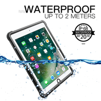 For iPad 9.7 2017 2018 Waterproof Case Shockproof DustProof Tablet Cover with Adjustable Stand Built in Screen Protector