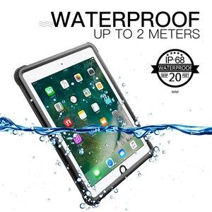 Image 1 - Pour iPad 9.7 2017 2018 étui étanche antichoc anti poussière housse de tablette avec support réglable intégré protecteur décran