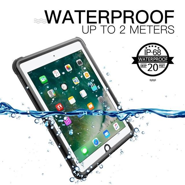Pour iPad 9.7 2017 2018 étui étanche antichoc anti poussière housse de tablette avec support réglable intégré protecteur décran