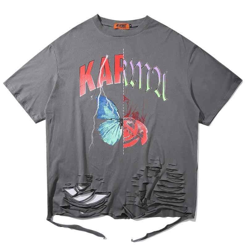 Футболка с принтом в виде бабочки NiceMix High Street, повседневные свободные футболки в стиле хип-хоп с короткими рукавами и вырезами, топы унисекс, футболки для детей