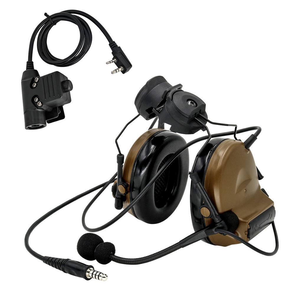COMTAC II Helmet Bracket Version Headphones Pickup Noise Reduction Hearing Protection Tactical Headset DE +U94 Kenwood 2 Pin Ptt