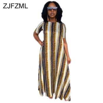 Striped Polka Dot Print Big Swing Dress Women Round Neck Short Sleeve Loose Dress Summer Female Plus Size Floor Length Vestidos цена 2017