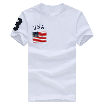 3 stlye NEW Hot Sale classic USA 100%cotton big horse flag polo Short Sleeve mens O-Neck homme high quality t shirt