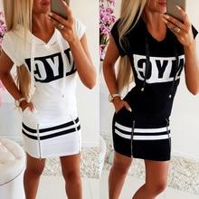 Summer Fashion Letter Print Zipper Hooded Women Dress Short Sleeve Hoodies Sweatshirt Dress Ladies Slim Mini Dress vestidos