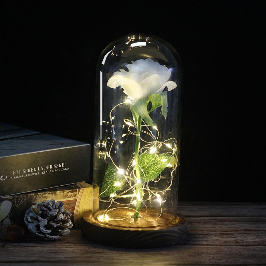 Средняя красота и чудовище Роза, Роза в стеклянном куполе, навсегда Роза, красная роза, консервированная Роза, Белль Роза, особый романтический подарок - Цвет: charcoal White