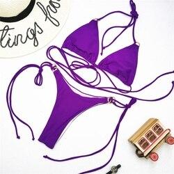 Одноцветный сексуальный комплект бикини, купальник для женщин, купальник с пуш-ап, бикини с лямкой через шею, Feminino, бикини на шнуровке, 2020, ку... 6