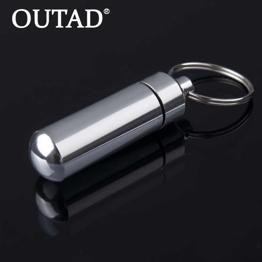 OUTAD 1 шт. алюминиевый водонепроницаемый держатель для ключей в форме таблеток держатель для бутылок Контейнер Брелок для ключей медицина брелок коробка оптовая продажа