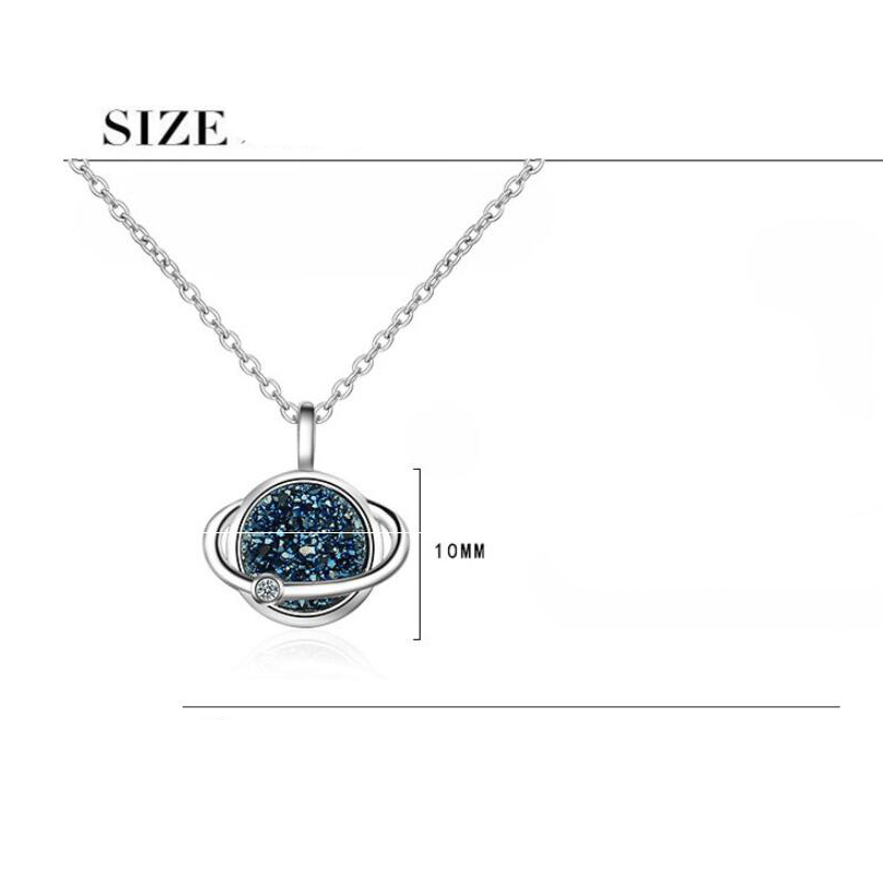 Купить с кэшбэком Female Blue Planet Crystal Round Pendant Necklace For Women Simple Blue Druzy Crystal Necklace Short Jewelery Fashion Chain