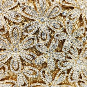 Image 2 - Boutique De FGG Socialite Hollow Out Women Flower Crystal Evening Bags Wedding Party Diamond Minaudiere Handbag Bridal Clutch