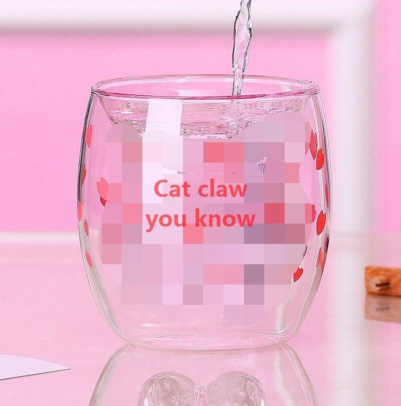 Novo gato pata copo com café caneca de leite caneca de cerveja cereja rosa transparente copo de pata de gato de vidro duplo
