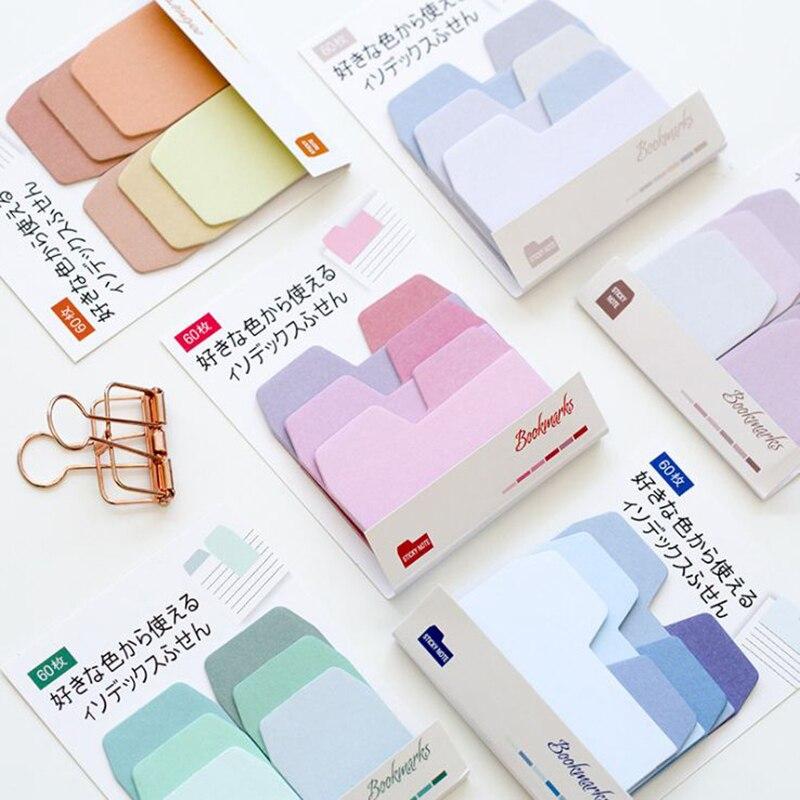 60 folha/pacote gradiente cor nota pegajosa costura bloco de notas adesivos bonito bloco de notas diy kawaii artigos de papelaria estudante diário suprimentos
