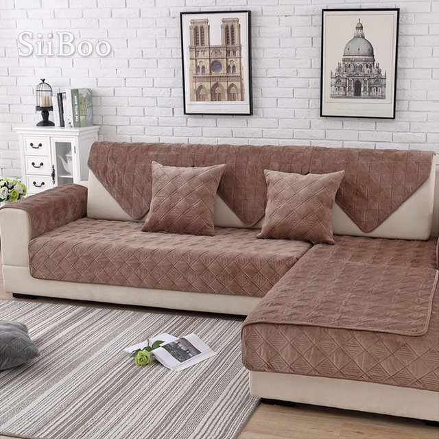 Café xadrez acolchoado de pelúcia secional sofá capa slipcovers móveis capas de sofá protetor capa de sofá fundas sp5640