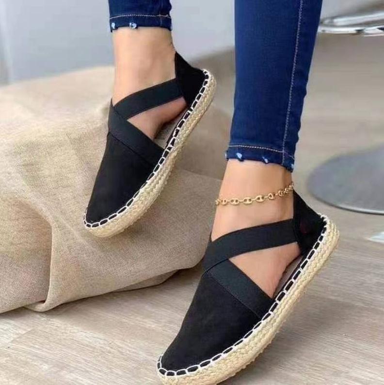2021 New Summer Striped Platform Sandals Wedges Women Hemp Cross Women's Espadrilles Casual Sandals Slip on Suede Sandalias