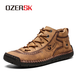 OZERSK Autumn Winter Snow Boots Ankle With Fur Plush Warm Male Casual Boots Work Fashion Boots Comfort Men Shoes Size 39~48