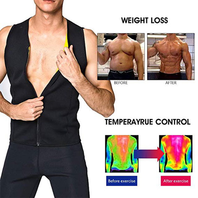 CXZD Men's Body Shaper Hot Sweat Workout Tank Top Slimming Neoprene Vest for Weight Loss Tummy Fat Burner 1