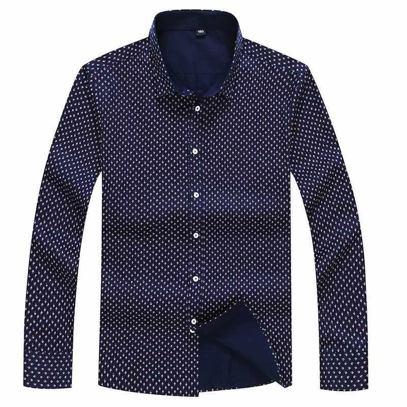 8xl 7xl 6xl 5xl primavera camisas casuais dos homens manga longa marca impressa botão-up formal negócio polka dot floral camisa vestido