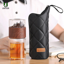 UNTIOR Portable Double Wall Glass Water Bottle Tea Separation Infuser Stainless Steel Filter Drinking For Bottles