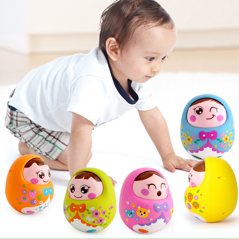 HOLA 979 Baby Rattle For Newborns 0-12 Months Tumbler Doll Baby Toys For Infant Nodding Matlyoshka Bell Roly-poly Music Toy Gift