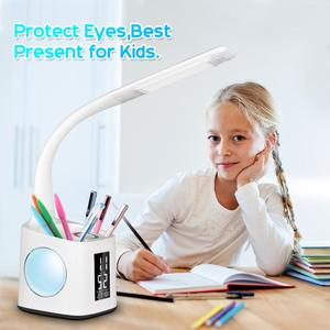 Image 5 - Study led desk lamp table lamp with pen holder usb port&screen&calendar&color night light dimmable led for kids students lamps