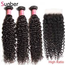 Sunber Hair Brazilian Curly Bundles with Closure High Ratio Human Remy Hair Extension 10-26 inch Bundles with 5×5 Closures Hair