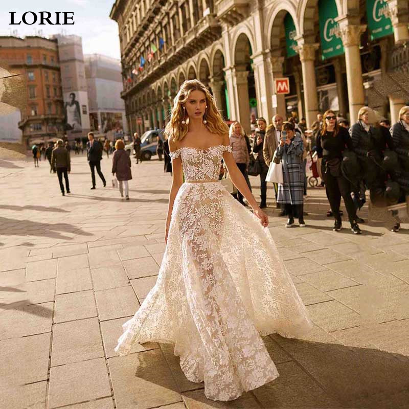 LORIE A Line Lace Wedding Dresses Off The Shoulder Boho Bride Dresses Vestidos De Novia Backless Wedding Gowns