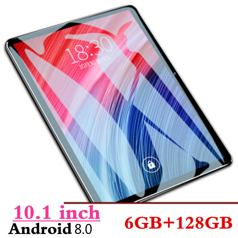 New 2.5D Screen Android 8.0 10 Inch 4G LTE Dual SIM Card Tablet PC 10 Core 6GB RAM 128GB ROM KidsTablets FM Bluetooth GPS