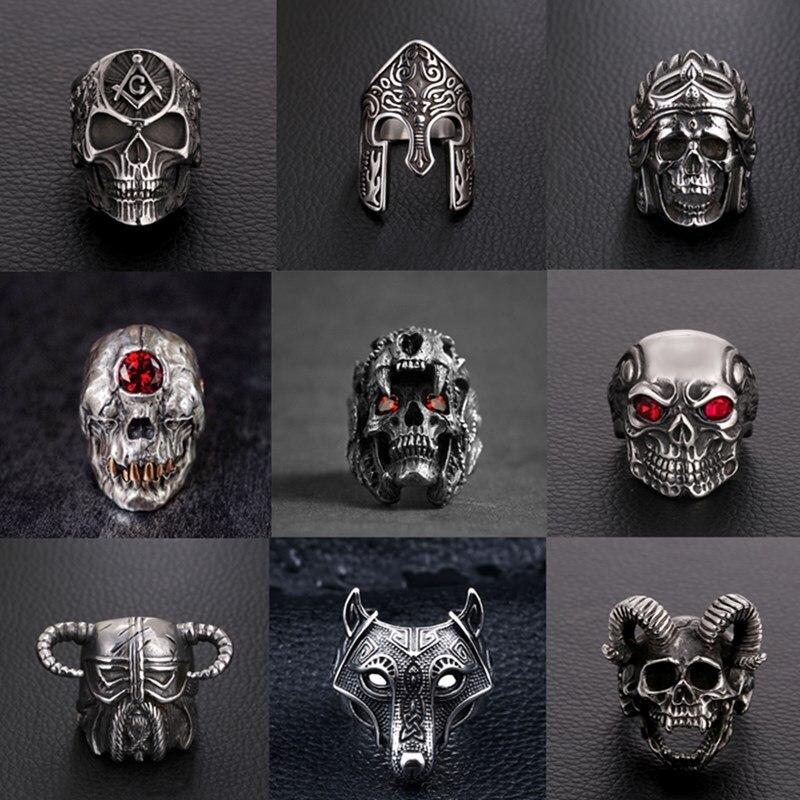 FFLACELL Vintage Men's Skull Skeleton Gothic Biker Rings Men Rock Punk Ring Party Fashion Jewelry