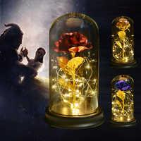 Heißer Verkauf Schönheit und Das Biest Gold Folie Rose Blume LED Licht Künstliche Blumen In Glas Dome Party Dekorationen Geschenk für Mädchen