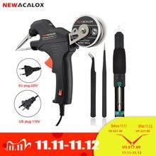 Newacalox ferro de solda elétrica kit 50 w ue/eua arma de aquecimento interno portátil automaticamente enviar estanho estação de solda ferramenta de reparo