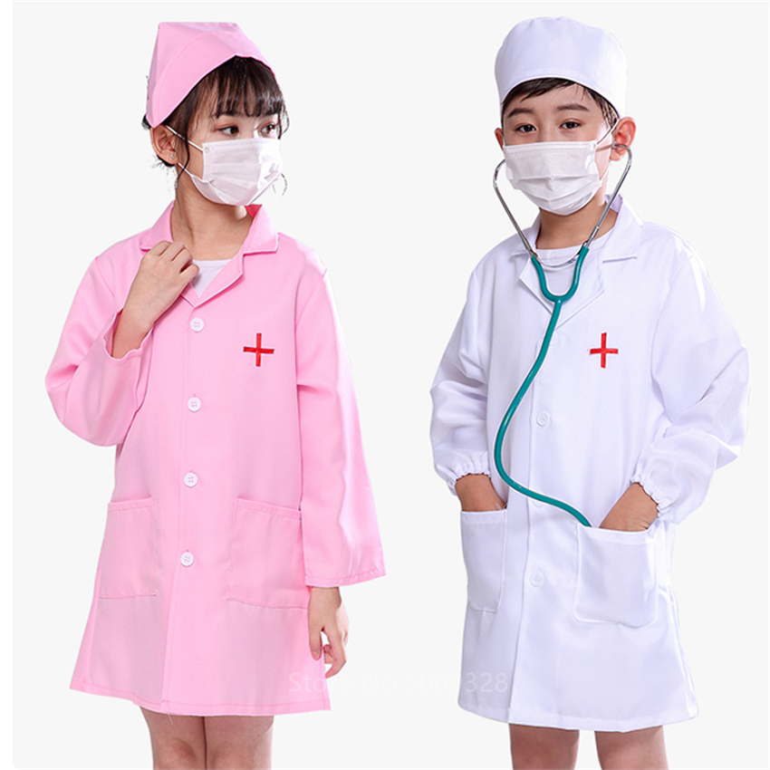 Children Boys Doctor Cosplay Costumes Halloween Carnival Party Gift Kids Girls Hospital Lab Medical Uniform Nurse Gown Christmas