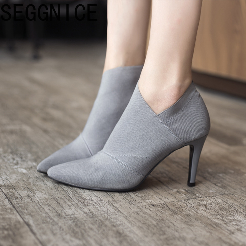 Women Sock Boots 2019 New Spring Arrival Ankle Boots For Heels Women Shoes Knitting Elastic Breathable Casual