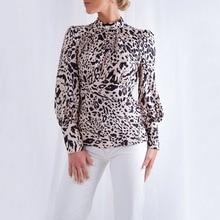T Shirt Women Summer Leopard Print High Collar Bottoming T-shirt Ladies Slim Sexy Backless Casual Tops Women Long Sleeve Tshirt