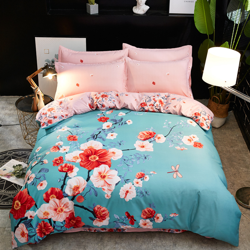 Chinese-style Activity Printed Large Version Of Brushed Four-piece Set Single Bed Sheet Double Sheet Set 1.5/1.8 Bedding Article