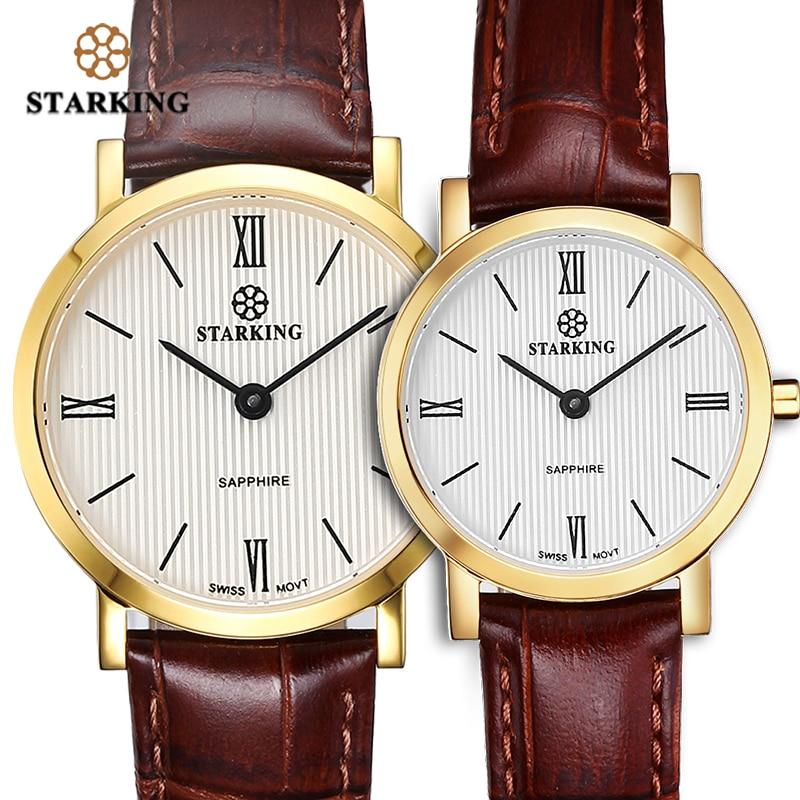 STARKING Couple Watches Ultra-Thin 6mm Man Women Quartz Wristwatch Japan Movt Sapphire Crystal Leather Belt Lover Watches Clock