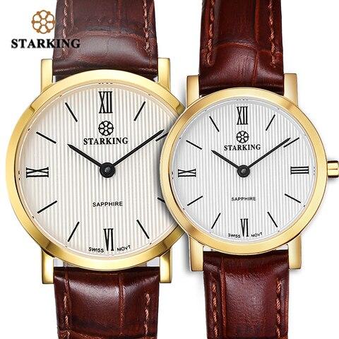 Relógio de Pulso de Quartzo Cinto de Couro Starking Casal Relógios Ultra-fino Homem Mulher Japão Movt Safira Relógio Amante 6mm