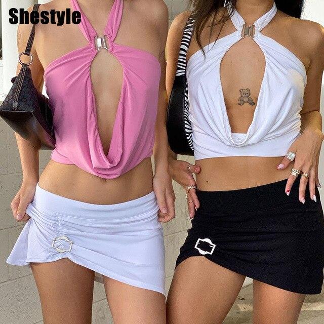 Shestyle-Conjuntos de dos piezas para mujer, ropa de playa Sexy, Rosa dulce, Espalda descubierta, Halter camisola, minifaldas, ropa de club, ropa de playa de retales 2021 1