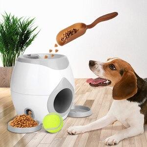 Animal de estimação bola lançador brinquedo cão tênis alimentos recompensa máquina lançador tratamento interativo lento alimentador brinquedo adequado para gatos e cães