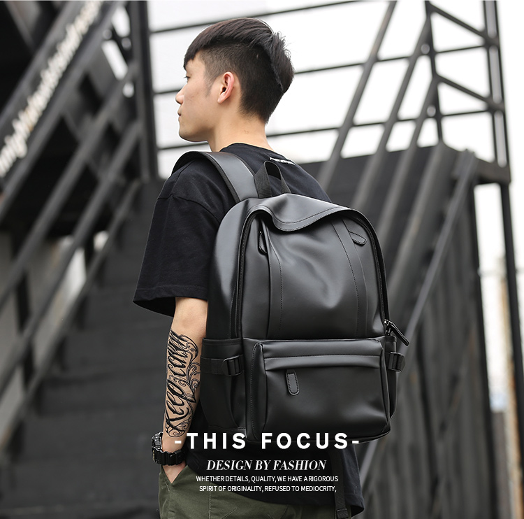 Men's Backpack Fashion Trend Campus High School College Student Bag Leisure Travel Backpack Laptop Backpack Leather Mochila image