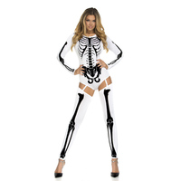 New Halloween Costume 3D Skull Ghost Cosplay Bodysuits Terror Printing Jumpsuits Sexy lady Halloween Party Clothes