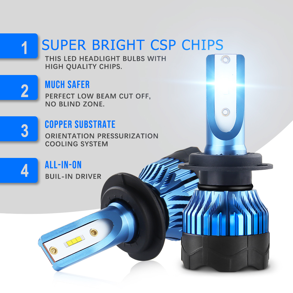 BraveWay 2020 NEW Item CSP Chip Mini Size LED Bulb H1 H4 H7 H8 H11 HB3 HB4 9005 9006 LED Headlight For Cars Light Bulbs Ice Lamp