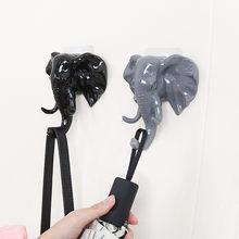 Cabeça de elefante animal auto adesivo roupas expositor cremalheiras gancho cabide boné mostrar porta parede saco chaves pegajoso titular quarto