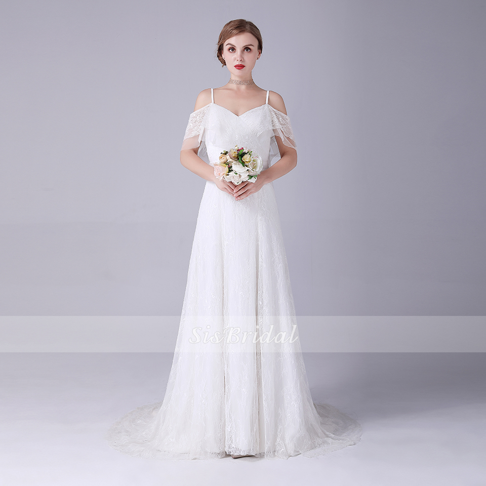 A-line V-neck Court Train Sleeveless Chiffon Wedding Dress With Lace